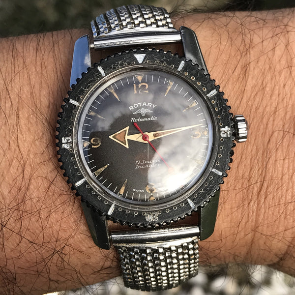 Rotary - Diver Rotamatic Broad Arrow super rare fluted bezel and case Nautilus style