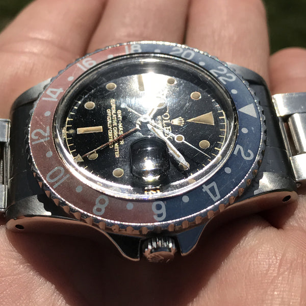"Rolex - GMT Master Chapter Ring ""exclamation mark"" gilt dial 1963"