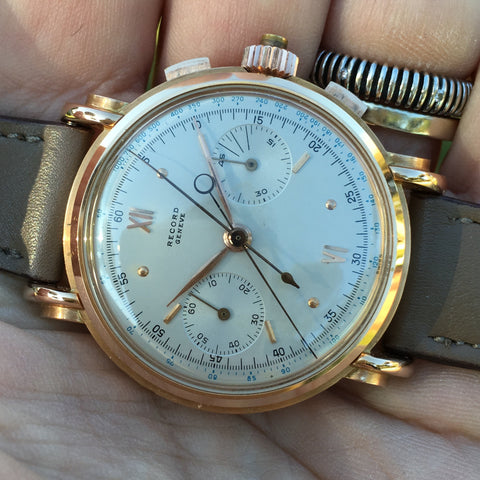 Record Watch - Rattrapante rose gold case oversize Cal. 179C manual 1940