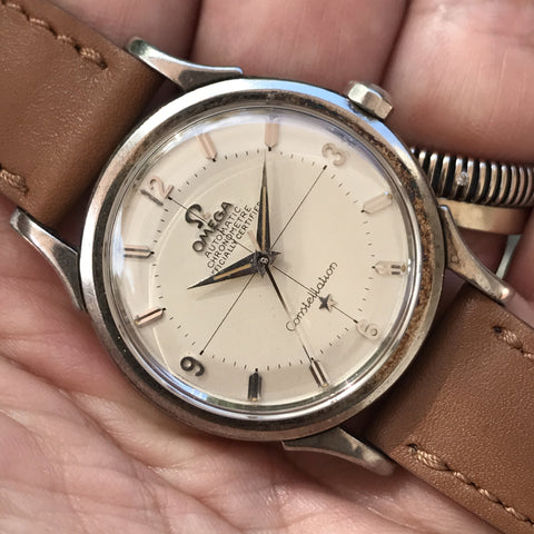 "Omega - Super rare white gold Constellation ""pie pan"" dial from 1950s"