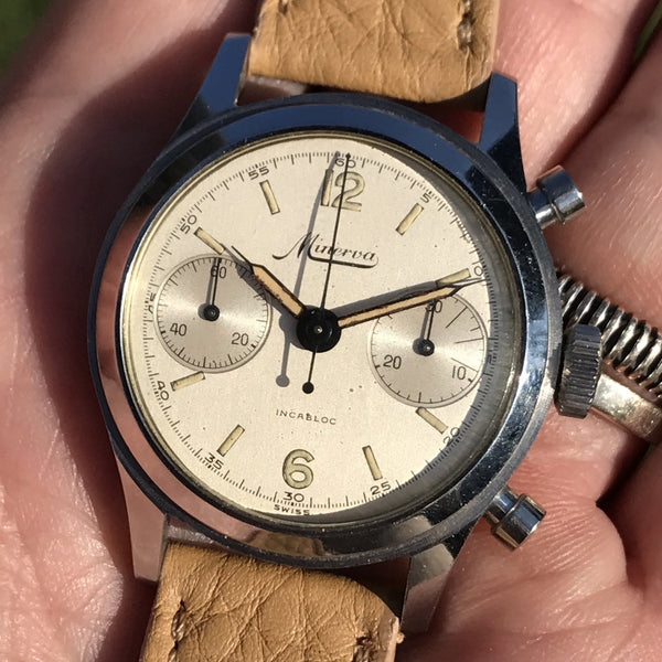 Minerva - Chrono Ref. 1335 one piece steel case 35mm Caliber 13-20ch rare Grenè dial
