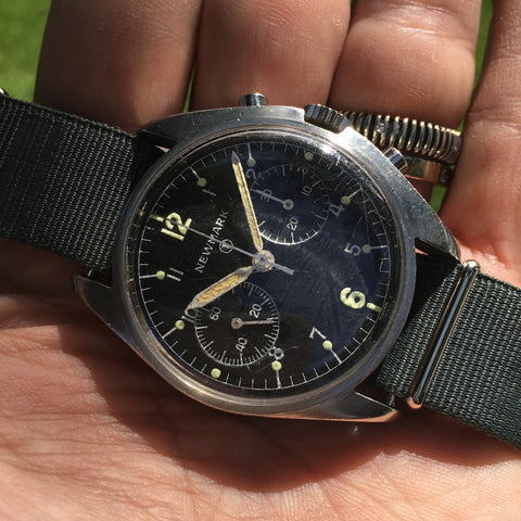 Newark - Asymmetrical Chronograph Royal Air Force marked Valjoux 7733