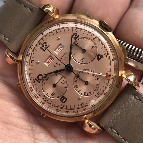 Orator - Chrono 18kt rose gold pink dial oversize