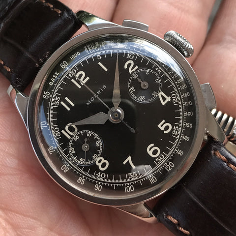 Moeris - Chrono black dial 34mm steel coin case