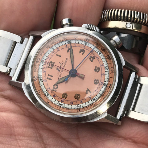 Mido - Multi Centerchrono pink dial from 1940's