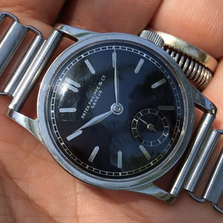 Patek Philippe - Ref. 96 steel with a super rare black dial 1940