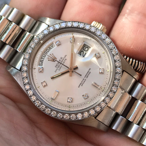 Rolex - Ref. 1804 White Gold Diamond President Day-Date 'Sigma Dial'