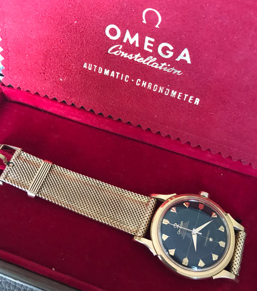 Omega - Constellation first series 18kt rose gold rare black dial