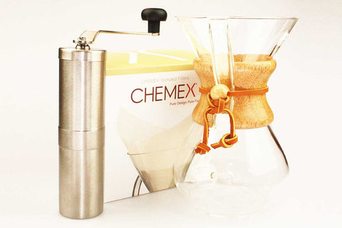 Chemex Classic 6 Cup + Porlex Grinder + 100 Filters