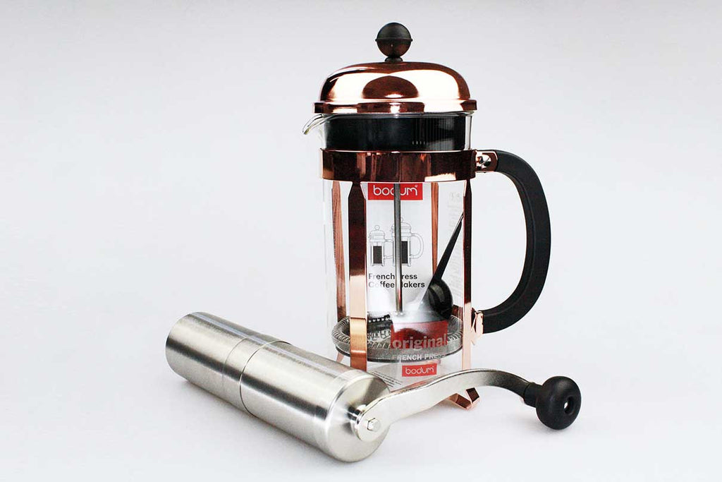 Bodum Chambord 8 Cup Copper + Porlex Grinder | Civilised Addict