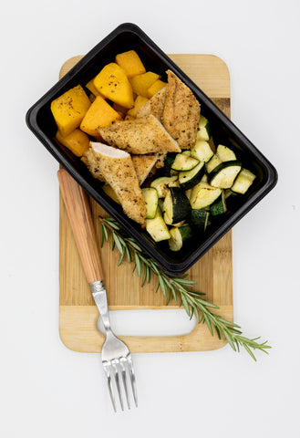 Crumbed Chicken Breast Tenders with Roasted Zuchinni and Butternut (300g)