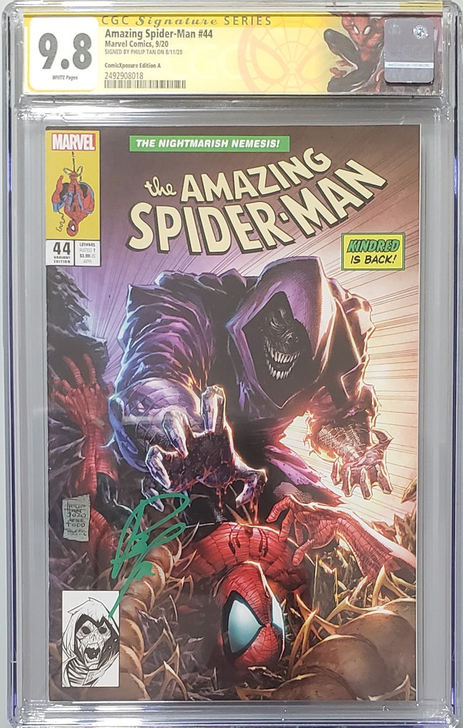 AMAZING SPIDER-MAN #44 PHILIP TAN VARIANT COVER A CGC SIG SERIESS 9.8
