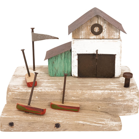 Batela Giftware-Ornaments-Driftwood Waterfront Boathouse Ornament