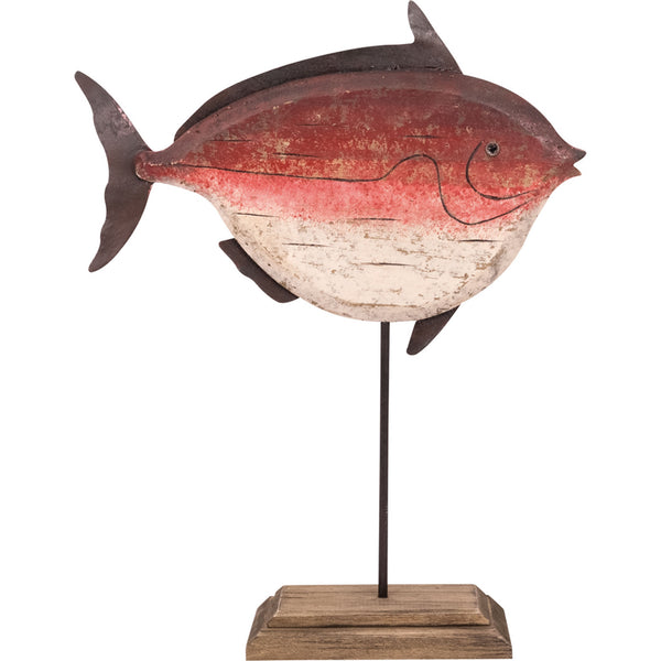 Wooden Fish on a Tall Stand - Red