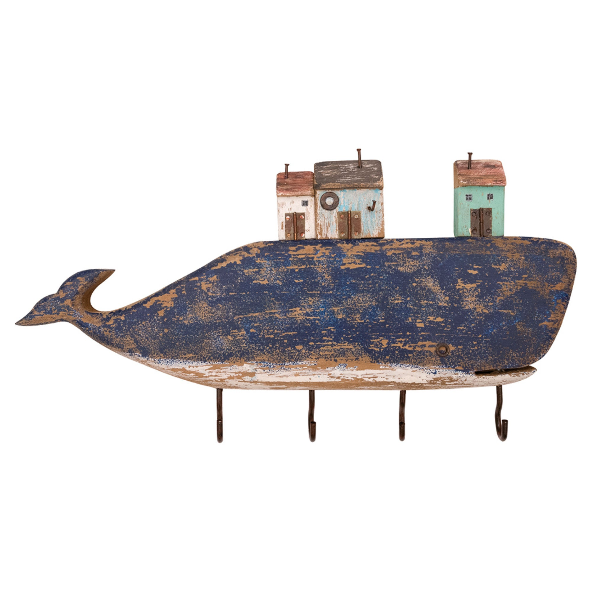 Batela Giftware-Key Ring-Driftwood Rey Ring Whale with Houses