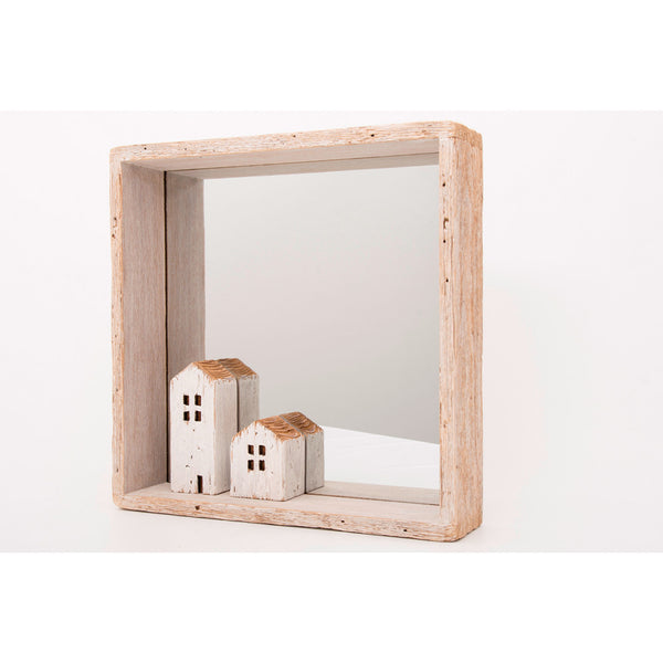 Driftwood Mirror with Houses - Square