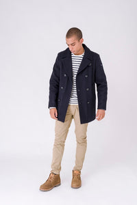 Classic Nautical Pea Jacket - Navy