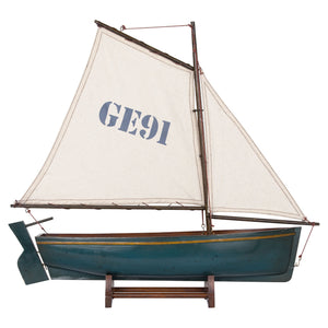 Batela Giftware-Sail Boats-Sailing Dingy in Blue - Model Boat