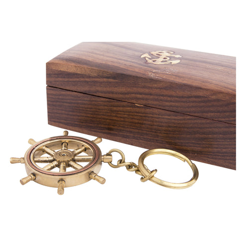 Ships Wheel Key Ring with Wooden Box