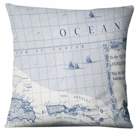 Batela Giftware-Cushions-Ocean Map Cushion