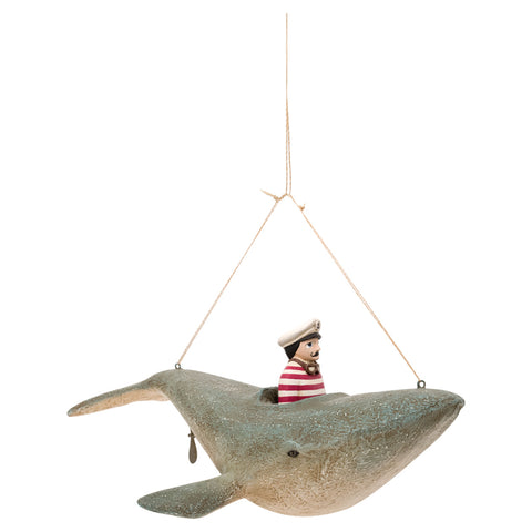 Batela Giftware-Figurines-Flying Captain on a Whale - Hanging Ornament