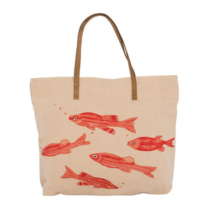 Large Canvas Tote Bag - Fish Design