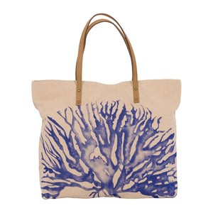 Large Canvas Tote Bag - Coral Design
