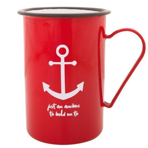 Batela Giftware-Mugs-Red Anchor Design Tall Enamel Mugs (Set of 6)