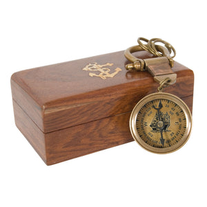 Compass Key Ring with Wooden Box