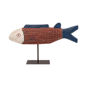 African Large Wooden Fish on a Stand - Red