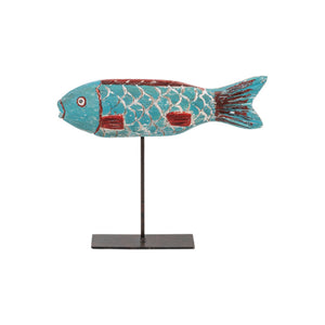 African Wooden Fish on a Stand - Blue