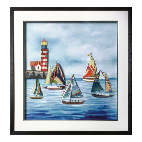 Framed Collage Picture of Sailing Boats