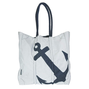Batela Giftware-Bags-Beach Handbag - White With Navy Anchor