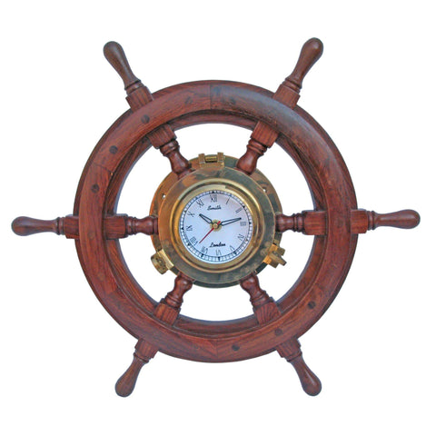Batela Giftware-Clock-Ships Wheel With Clock