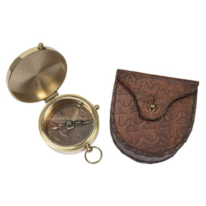 Batela Giftware-Desktop-Pocket Compass with Leather Case