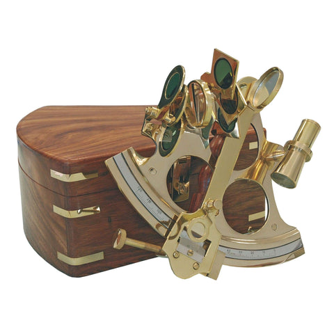 Batela Giftware Desktop Sextant in Brass with a Wooden Box