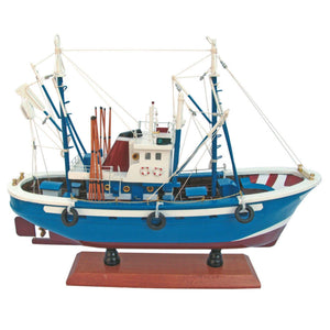 Batela Giftware-Fishing Boats-Large Tuna Fishing Boat in Blue - Model Boat