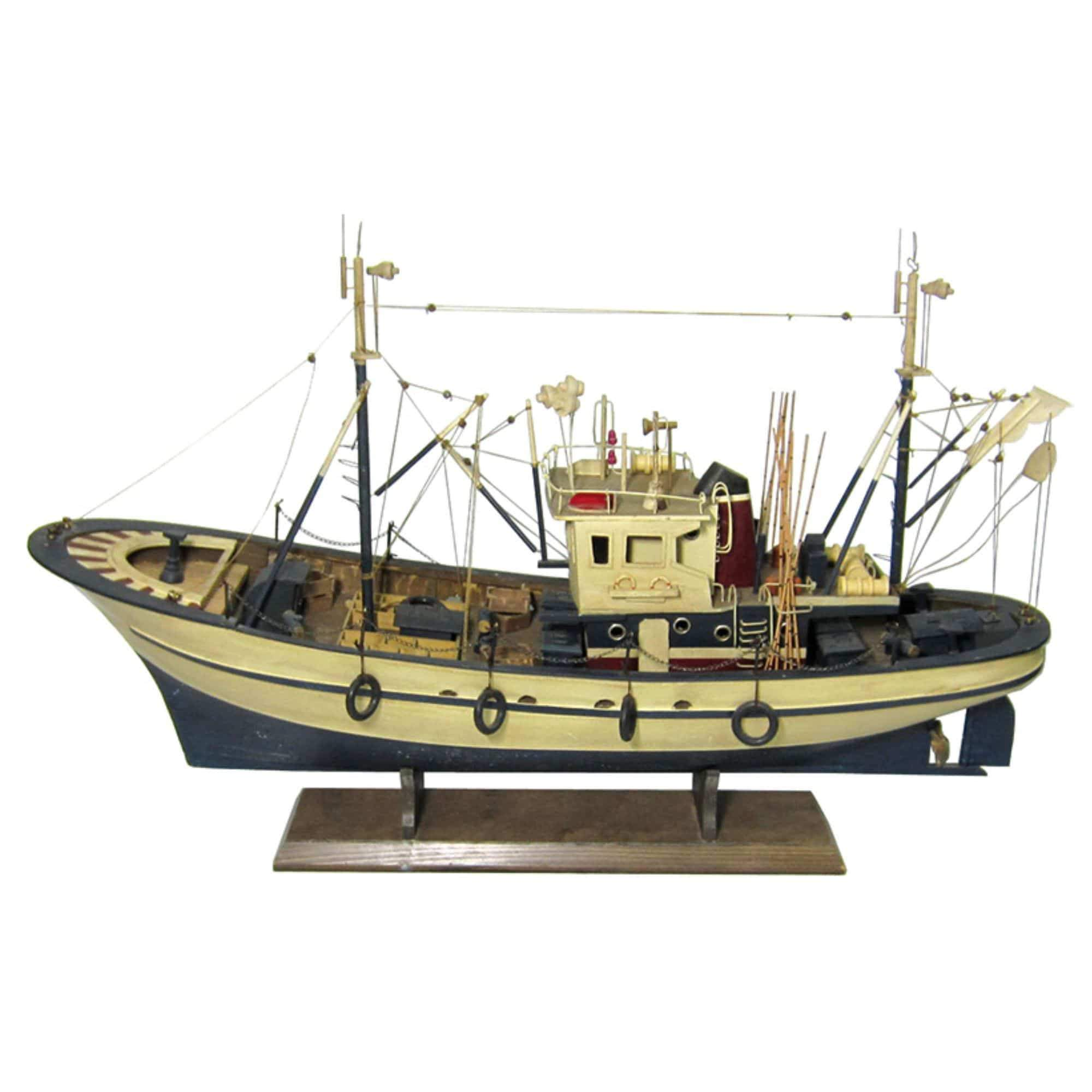 Batela Giftware-Fishing Boats-Fishing Boat, Blue and Cream - Model Boat