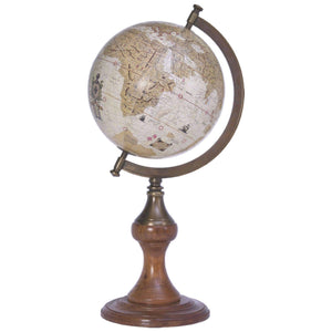 Batela Giftware Globes H:37cm - D:16cm Globe with Brass Stand, Earth