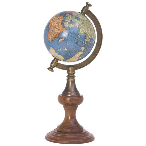 Batela Giftware Globes H:46cm - D:23cm Globe with Brass Stand Sea Blue