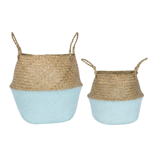 Batela Giftware-Bathroom-Blue Dipped Wicker Baskets (Set of 2)