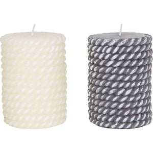 Batela Giftware-Home Decoration-Rope Style Candles (Set of 2)