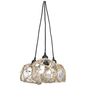Batela Giftware-Lamp-Glass Buoy Ceiling Triple Light, Clear