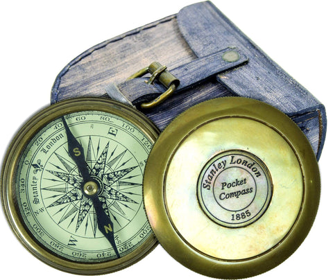 Batela Giftware Nautical Office Decoration Compass with Leather Case