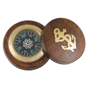 Batela Giftware-Nautical Office Decoration-Compass with Wooden Base
