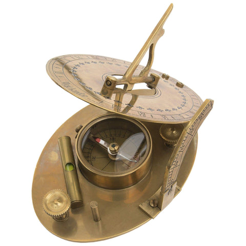 Batela Giftware Nautical Office Decoration Default Brass Sundial, with Compass