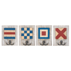 Batela Giftware-Coat Racks & Hooks-Nautical Signal Flag Coat Hooks (Set Of 4)