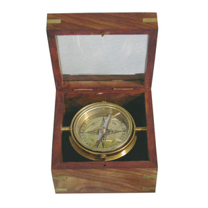 Batela Giftware-Nautical Office Decoration-Navigation Compass in a Glass and Wooden Box