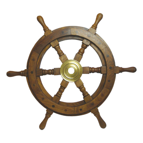 Batela Giftware Nautical Office Decoration Smallest Size Wooden Ships Wheel