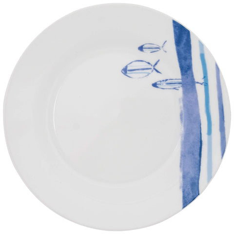 Batela Giftware Tableware Default Marine Striped Plates, Small (Set of Six)